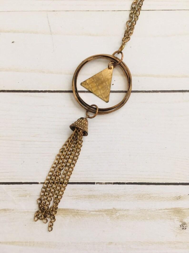 Vintage 1970/'s Triangle Tassel Necklace  Brass Goldtone Boho Hippie Dangly Long Chain