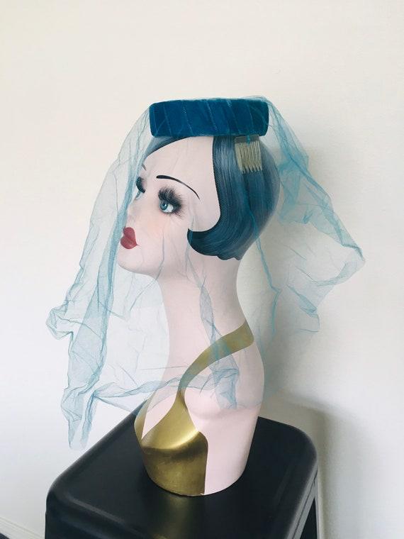 Vintage Blue Halo Hat / Fascinator 1950's Veiled … - image 4