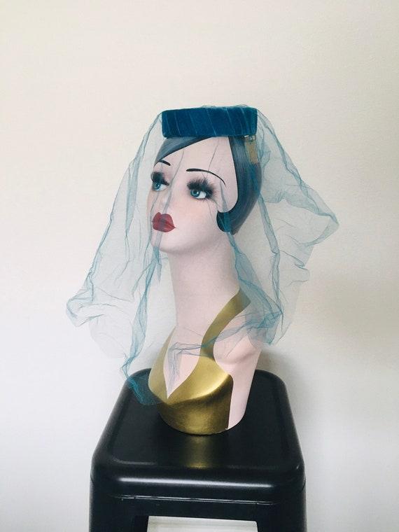 Vintage Blue Halo Hat / Fascinator 1950's Veiled … - image 1