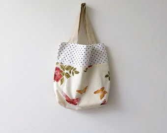 Handmade Bag Butterflies Flowers and Polka Dots Tote Bag Retro Fashion