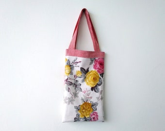 Handmade Mini Tote Handbag Rose Floral and Gingham Cotton Gift for her