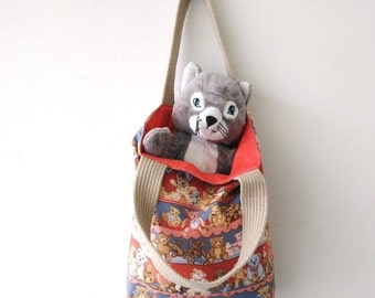 Teddy Bear Tote Small Tote Bag for Little Girl or Boy OOAK One Of A Kind