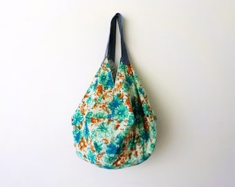 Extra Large Tote Bag Fully Reversible  Green Floral Project Bag Origami Bag Japanese Bag