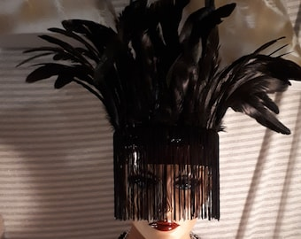 Head Dress or Feather Cleopatra Collar Choker w Faux Crocodile leather Fringe Sequin Trim Rooster feathers Unisex 2 ways to Wear Mask laced