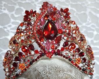 RED QUEEN Custom Crown Swarovski crystals cut glass gemstone rhinestones gold bride Costume Halloween cosplay Alice Wonderland Looking Glass