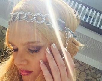 Head-chain Hair jewelry Mermaid Boho Chic Festival Coachella Large Link Chunky SIlver Chain w Square Cut Clear Crystals Pink hues, trinkets