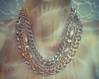 OOAK Multi Metal Chains Necklace - Silver Gold, mixed styles, Boho, Underground, Queen Bey, Large rope chain, Trinkets charms, Glam