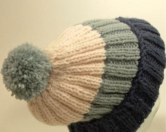 5cdece79e22 Mens Womens Large Knit Hat Slouch Beanie Big Cuff Pom Denim Blue Free Ship  U.S.