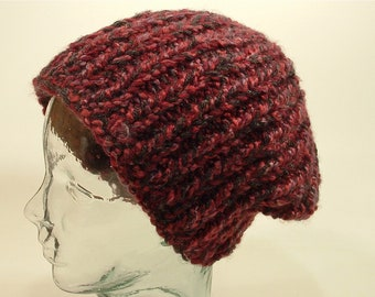 ba68f124c62 Mens Womens Knit Hat Chunky Beanie Gray Red Wine Mix Soft Yarns Flexible  Style Free Ship U.S.