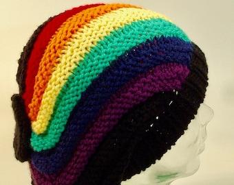 86fcf23679d Black Rainbow Agender Womens Mens Slouchy Knit Beanie Diagonal Rib Slant  Bias Free Ship U.S.
