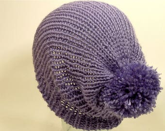 Womens Girls Knit Hat Toque Cuff Beanie Slouch Stretch Pom Purple Lavender Blue