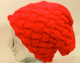 dfe7b2f995f Womens Knit Hat Slouch Red Cable Cross Weave Braid Pom Large Agender Free  Ship U.S.