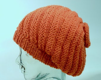 3845429d7a8 Agender Womens Mens Slouchy Knit Beanie Burnt Orange Diagonal Rib Slant  Bias Free Ship U.S.