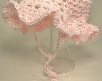 Baby Toddler Girl Bonnet Hat Ruffle Brim Pink Handmade Crochet