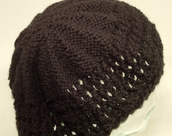 Womens Hat Knit Beret Tam Solid Black Lace Wool Blend Slouch Pleats