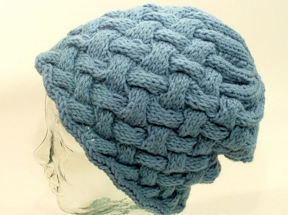 a55d2fb5cce Mens Womens Large Knit Hat Powder Blue Beanie Cuff Slouch Pom