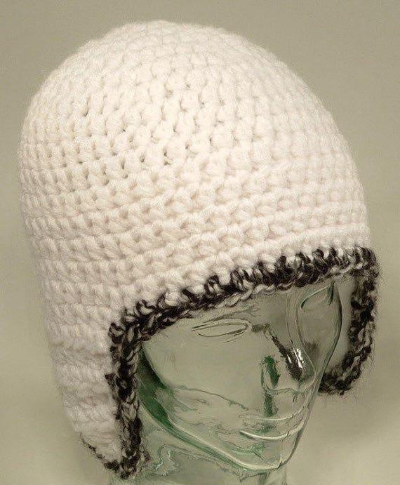 Mens Beanie Hat Ear Flap Helmet White Black Edge Crochet | Etsy