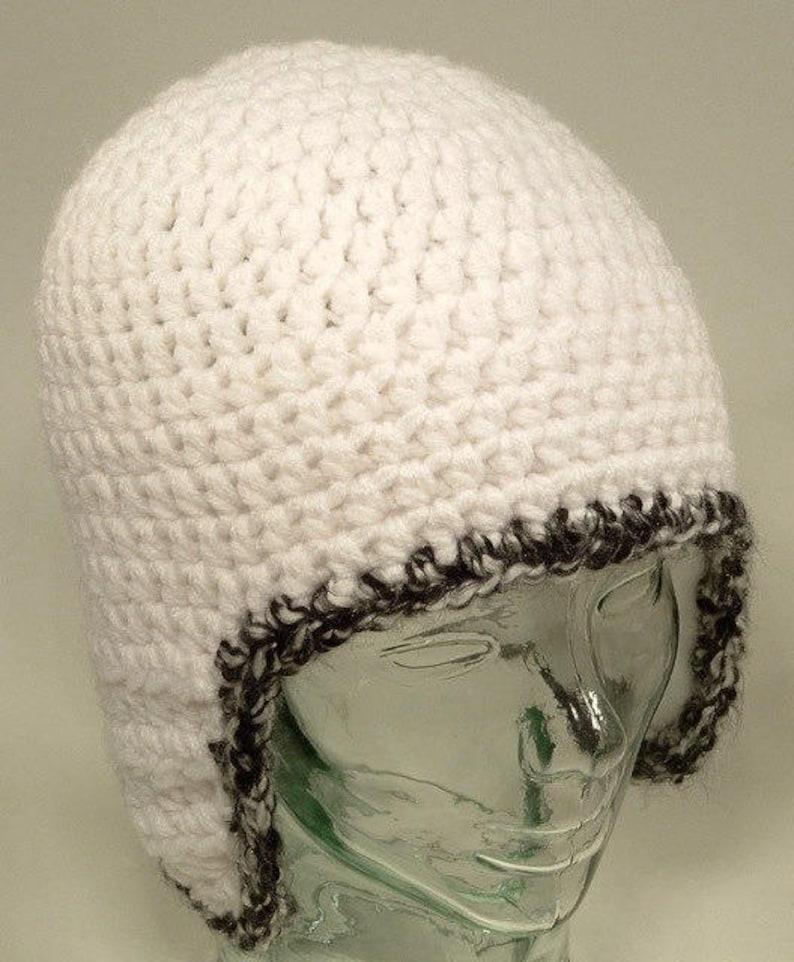 f6c2ae72e9f Mens Beanie Hat Ear Flap Helmet White Black Edge Crochet