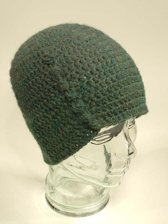 Knit Hat Gray Sock Pattern Waffle Cable Pom Great Grand Mother Free Ship U.S.