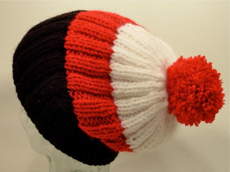 fa523c2d8dc Mens Womens Knit Hat Big Beanies Cuff Ponytail Pom Black Red