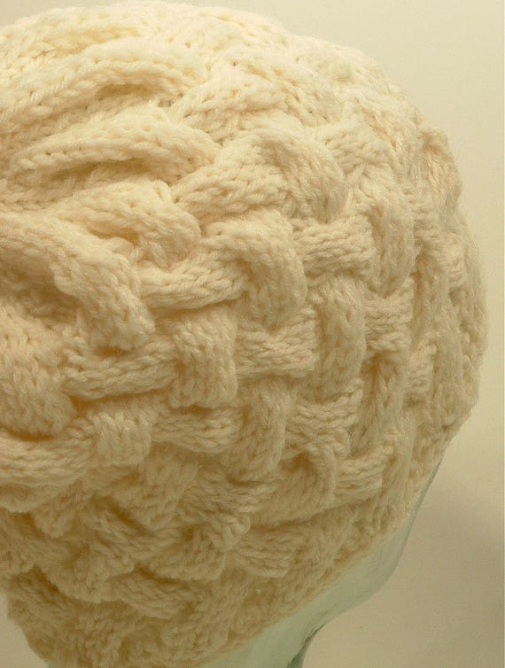 12875de4cb8 Mens Womens Knit Hat Cable Winter White Aran Natural Basket