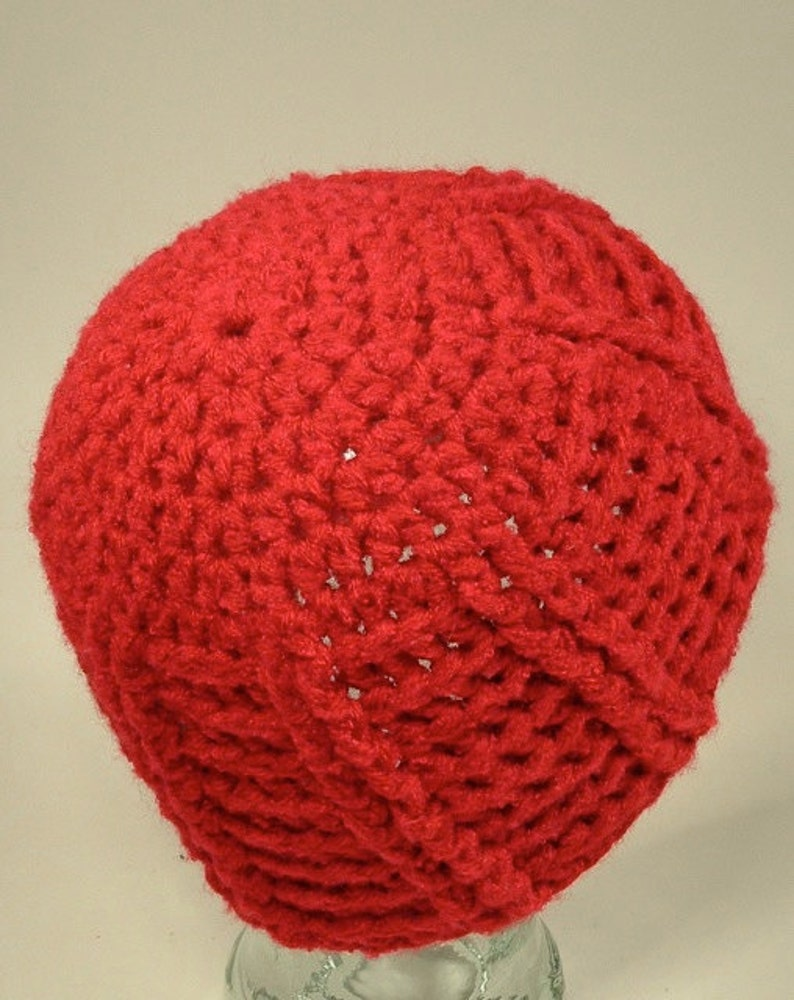 Womens Hat Beanie Red Chunky Texture Cable Basket Weave Crochet Free Ship U.S.