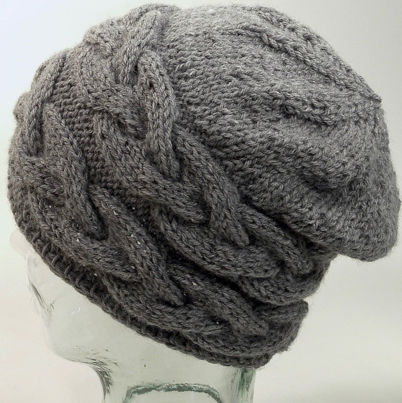 2281103151b Womens Knit Hat Cable Beanie Slouch Gray Lightweight Pom