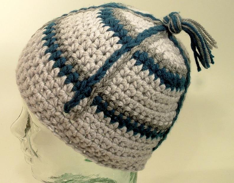 9dc0214274b Mens Small Beanie Hat Gray Tassel Top Knot Blue Plaid Stripe