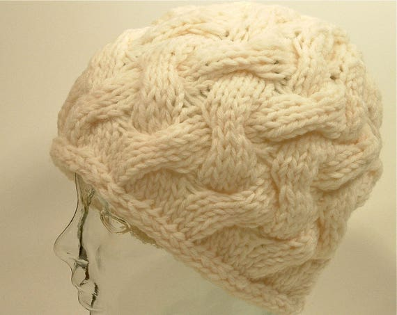 68f233ee5a9 Mens Womens Knit Hat Chunky Cable Natural White Basket Weave