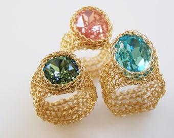 Blue Ring, Swarovski Ring,  Wide Band Ring,  Ring