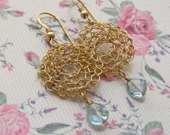 Small Crochet Circle Earring with Blue Topaz  Tear Drop