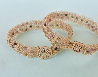 Crochet Gold Filled Bracelet, Wire Brcelet, Bridal Fresh Water Pearls Bracelet, Bridesmaid Jewelry, Wire Crocht Jewelry