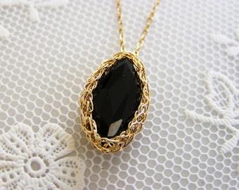 Crochet Pendant, Knitting Goldfilled Marquise Onyx Pendant