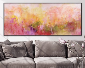 Floral original painting Garden landscape Pink Yellow colors Extra large horizontal art on canvas Ready to hang option ElenasArtStudio