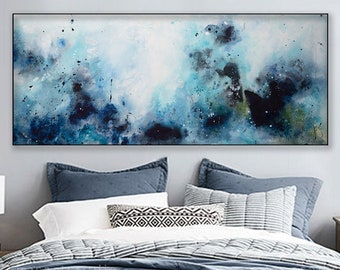 Abstract Seascape Painting Panoramic Art On Canvas Gallery Wrap ElenasArtStudio
