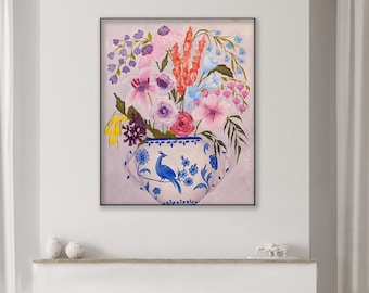 Flower painting, Bouquet in a vase, Floral art on canvas, Apartment decor, Small Modern wall decor, Blue vase, Blue green ElenasArtStudio