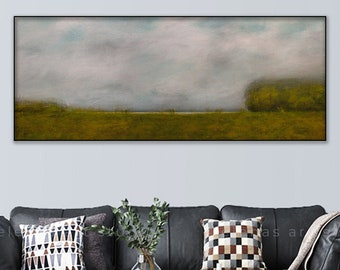 Landscape print, Large art Sky lake abstract canvas print, Ready to hand Panoramic art 104 Long Floating frame option