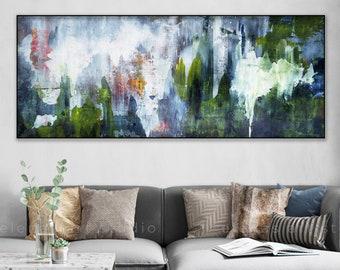Green blue print, Large abstract canvas, Green blue art, Minimalist art, Horizontal Floating frame option wall art Modern decor 916 Long