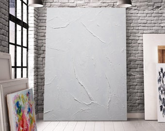 White texture color field painting All White art on canvas acrylic painting Living room decor Modern wall art Minimalist art