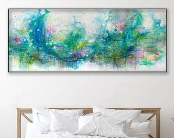 Waterlily pond painting blue green abstract art Ready to hang option Lilies flowers 72x30 Elenasartstudio