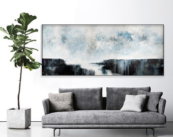 Large Seascape Abstract Print On Canvas Paper Large Abstract Painting Extra  Large Abstract Large Wall Art Gray White Print Horizontal 869