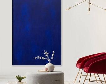 Blue color field painting dark blue art on canvas Blue paintings original acrylic painting on canvas Modern art ElenasArtStudio