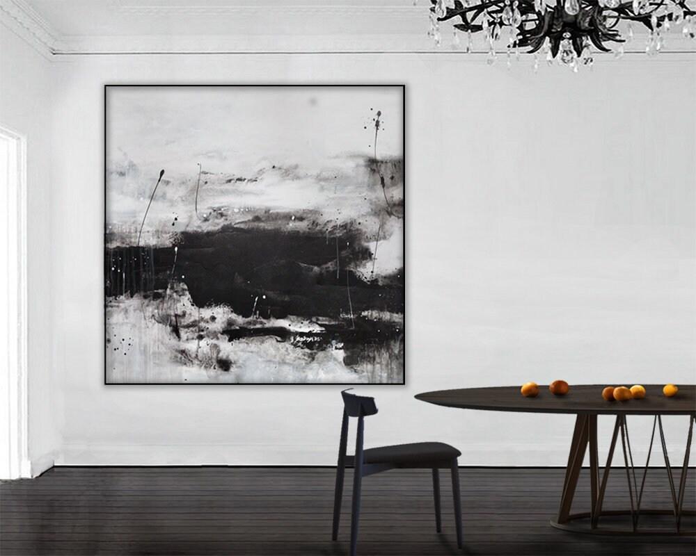 Black white abstract black white painting on canvas black white art large art horizontal painting abstract painting minimalist wall art