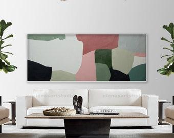 Large art mossy green art mid-century painting, abstract art art on canvas, Large abstract painting, Minimalist wall art Large painting