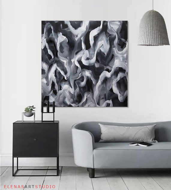 Black White Abstract Art Black White Painting Large Abstract Painting On Canvas Extra Large Painting Original Minimalist Art Black And White
