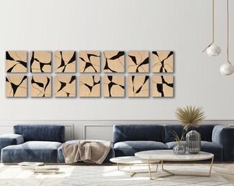 Wood blocks Wall art Abstract painting Wall art installation for commercial, residential interior Multiple Wood panels ElenasArtStudio