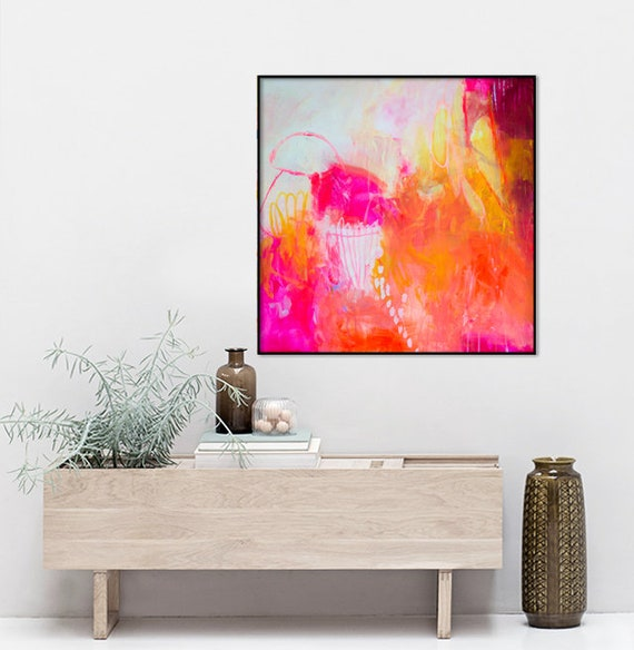 Pleasant Abstract Art On Canvas Large Abstract Painting Red Pink Art Extra Large Painting Square Living Room Loft Art House Decor Modern Art Download Free Architecture Designs Embacsunscenecom