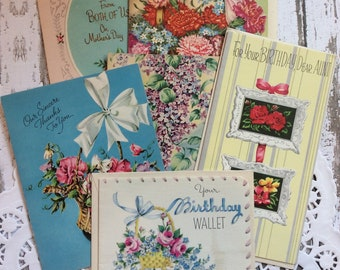 Vintage Greeting Cards, Floral Unused Lot of 5 Mid Century Cards, Flower Cards