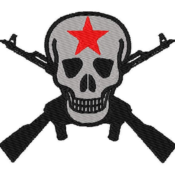 Skull With Crossed Guns Digital Embroidery Design Skull With Etsy