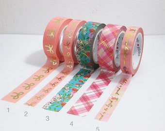 Rose all day Samples of simply gilded washi Aqua pink silver washi.